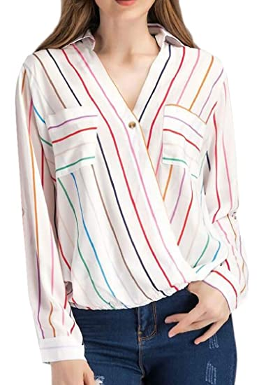 2567aecdb2515 Macondoo Womens Cross Chiffon Pocket Simple Striped Lapel Neck Breathable  Top Blouse T-Shirts at Amazon Women s Clothing store