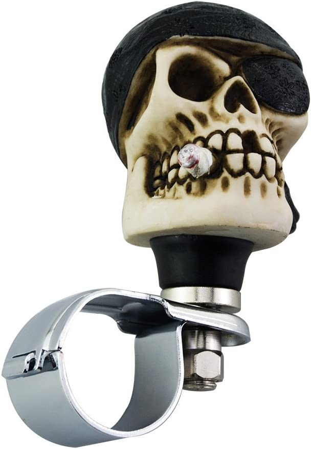 Mavota Knob for Steering Wheel Black Pirate Skull with Cover One Eye Car Steering Wheel Knob for Trunk//Bus//Sedan//SUV//Ship Or More Black