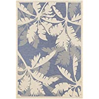 Couristan Monaco Coastal Floral Indoor/Outdoor Area Rug, 510 x 92, Ivory/Sapphire