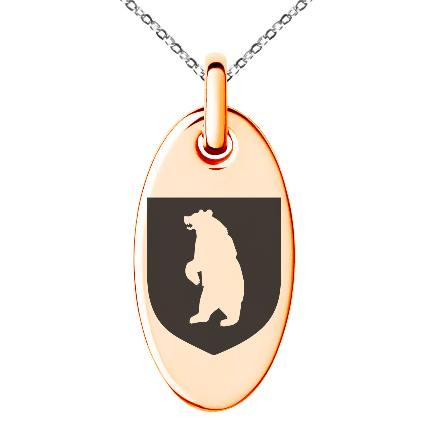 Tioneer Rose Gold Plated Stainless Steel Bear Ferocity Coat of Arms Shield Symbol Engraved Small Oval Charm Pendant Necklace