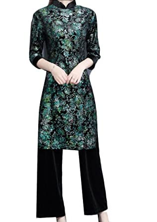 Sweetly Women S Chinese Style Fit 2 Piece Pants Velvet Vintage Dress