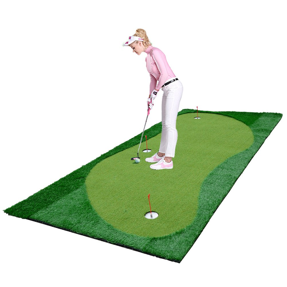 77tech Large Artificial Grass Golf Putting Green Mat Indoor/Outdoor Golf Training Aid Equipment Mat Made of Waterproof Rubber Base and Professional Golf Green Turf (5'X11.5') by 77tech