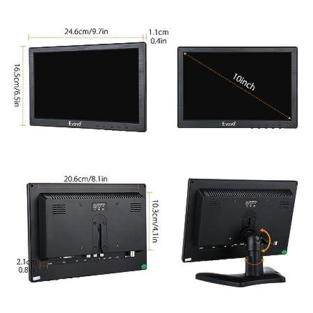10 pulgadas Monitor IPS LCD CCTV Resolución 1280x800 Pantalla 16: 10 Antideslumbrante Pantalla de video HD Soporta VGA HDMI BNC Ypbpr Para seguridad DVD PC ...