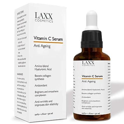 Potente suero de vitamina C para la cara con suero de ácido hialurónico, anti envejecimiento