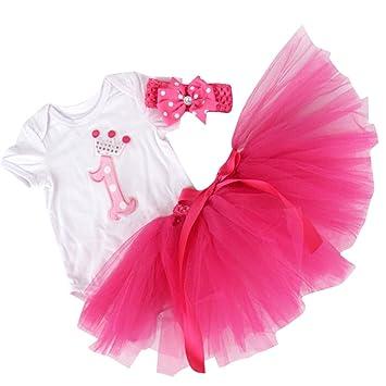adb971301 YOUTUMALL® Baby Girls' 3PCs 1st Birthday onesie set Tutu Dress Headband (L,
