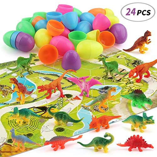 24 Pcs Dinosaur Toys Prefilled Suprise Eggs, Dinosaur Eggs, Kids Realistic Toy Plastic Assorted Dinosaur Figures Goodie Bag Fillers for Boys and Girls]()