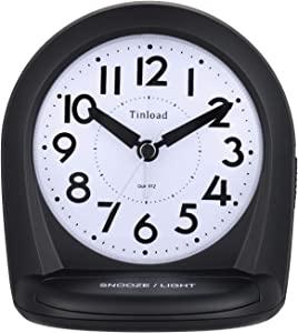 "5"" Silent Analog Alarm Clock Non Ticking, Gentle Wake, Beep Sounds, Increasing Volume, Battery Operated Snooze and Light Functions, Easy Set (Black)"