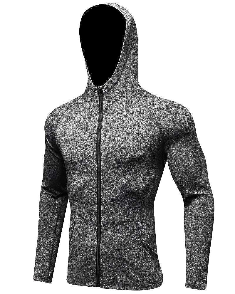 Laufjacke Herren Sweatjacke mit Kapuze, Kapuzenjacke Zip Hoodie Fitness Training Mantel