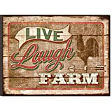 Live Laugh Farm Rooster Steeple Faded Vintage Sign Look 12 x 16 Wood Wall Art Sign Plaque
