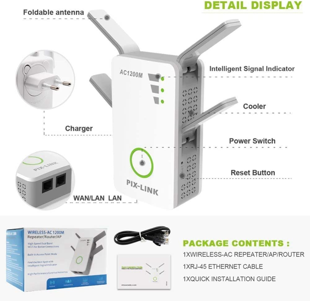 HONGGE WiFi Extender Booster 1200M Double Band WiFi Range Extender Internet Booster Mini AP Router Works with Any WiFi Router