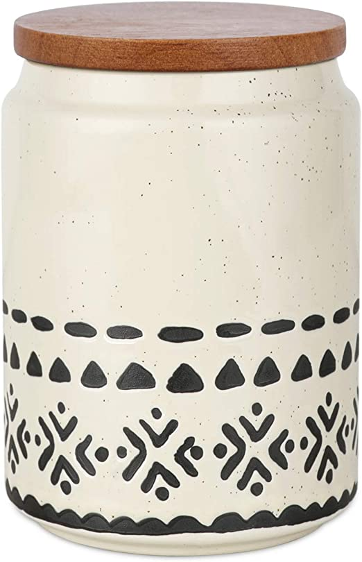Kopmath Ceramic Coffee Canisters, 29 FL OZ (850 ml), Super Airtight Wooden Lid, Starry-Sky Bohemian Style, Sturdy for Dishwasher, Kitchen Food Storage Jar for Coffee Bean Sugar Tea Spices Nuts Snack