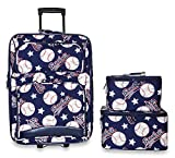Ever Moda 3-Piece Carry On Luggage Set with Wheels for Travels, Navy Blue Baseball