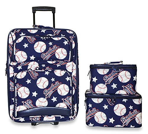 Ever Moda 3-Piece Carry On Luggage Set with Wheels for Travels, Navy Blue Baseball by Ever Moda