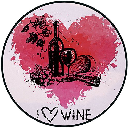 Printing Round Rug,Wine,Hand Drawn Sketch Illustration with Splash Watercolor Heart I Love Wine Theme Mat Non-Slip Soft Entrance Mat Door Floor Rug Area Rug For Chair Living Room,Pink Coral Black ()