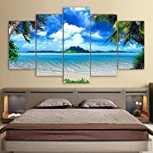 "Canvas Wall Art Summer Sea Beach Painting Prints on Canvas Framed Ready to Hang - 5 Pieces Canvas Art Seascape Contemporary Pictures Artwork for Home Decoration(60"" W x 32"" H, Framed) LwqArt"