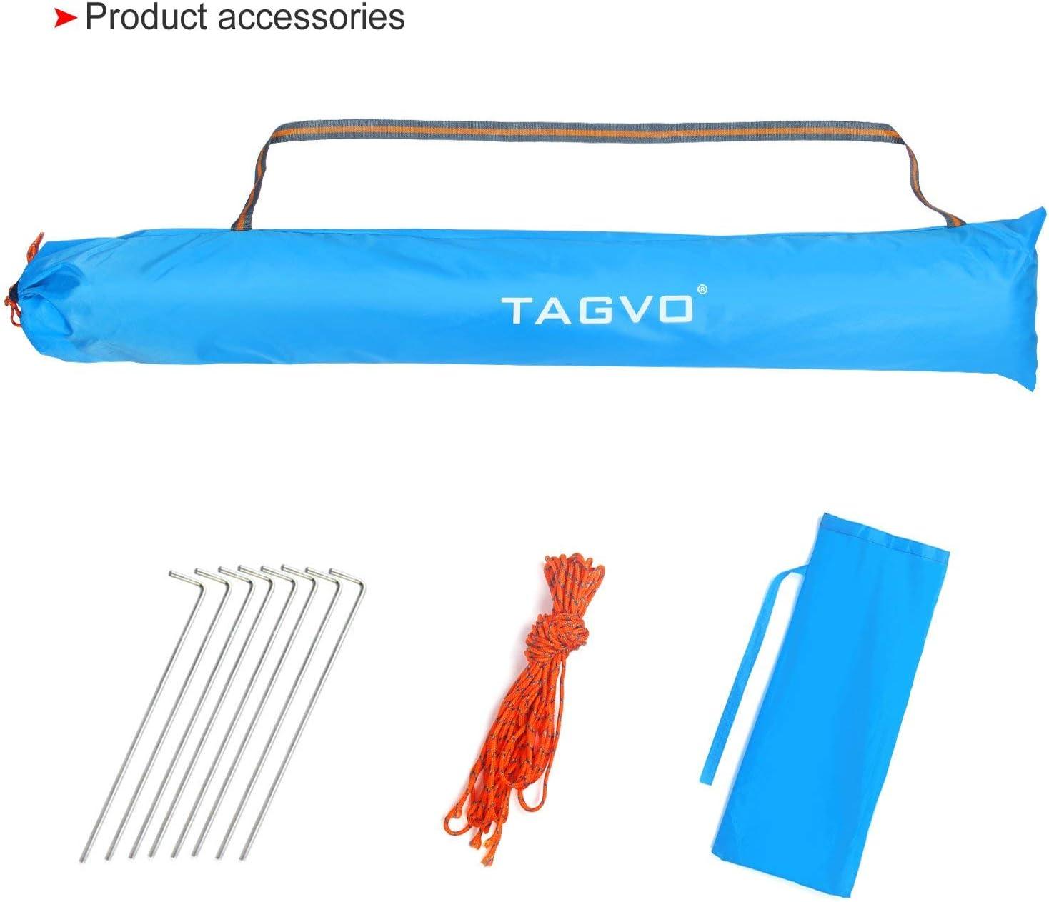 Portable Canopy F/ácil de Instalar Tear Down TAGVO Pop Up Beach Tent Sun Shelter con Puerta de Entrada