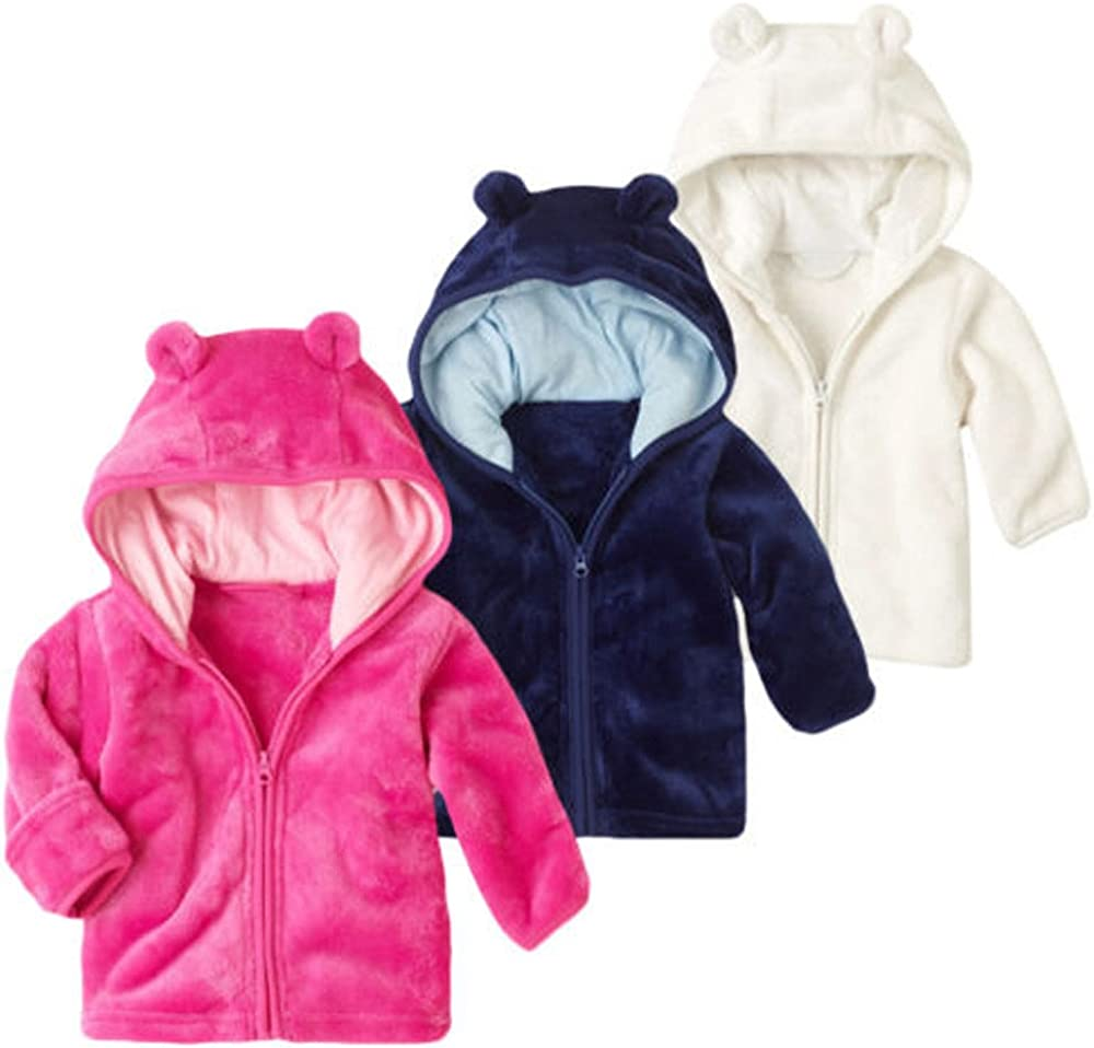 Baby Girls Boys Hooded Coat Jacket Parkas Autumn Winter Cotton Warm Thick Cardigan Snowsuit Infant Kids Cute Cartoon Ear Cloak Zipper Outwear Newborn Toddler Solid Tops 0-3 Years