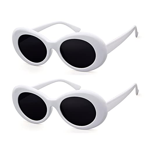 d1b2b9cada820 Bold Retro Oval Mod Thick Frame Sunglasses Clout Goggles with Round Lens (2  packs White