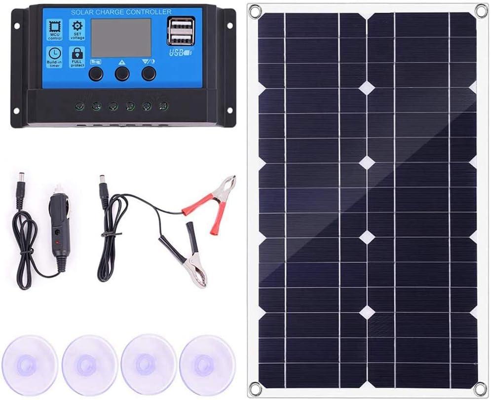 SODIAL Kit de Panel Solar de 100 W con Controlador Cargador de BateríA de 12 V / 24 V para Carga RáPida de BateríA de Barco y Caravana (50 A)