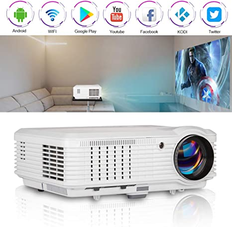 CAIWEI Android Bluetooth Projector Home Theater WIFI App USB HD 1080p+HDMI Cable
