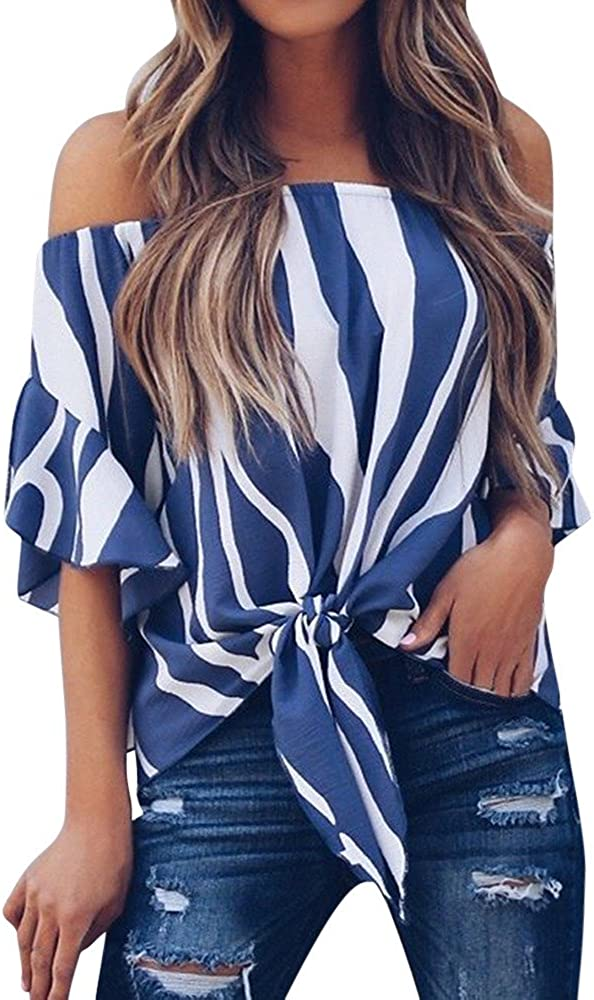 Amlaiworld Women Plus Size Blouse Striped Off Shoulder Waist Tie Tee Tops Short Sleeve Casual T Shirts Tops
