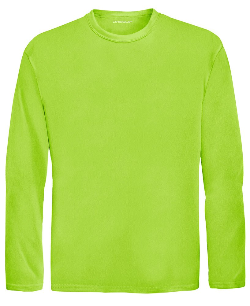 DRI-EQUIP Youth Long Sleeve Moisture Wicking Athletic Shirts. Youth Sizes XS-XL, Lime Shock, Large by Joe's USA