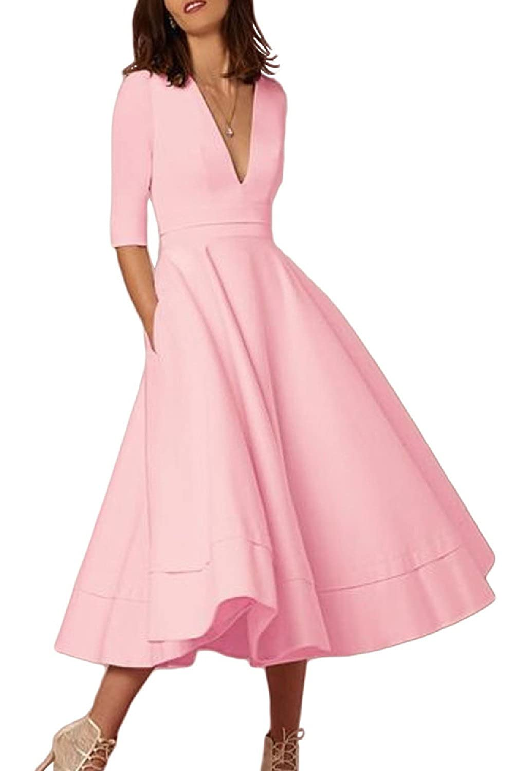 Women's Elegant Deep V-Neck 3/4 Sleeve Swing Party Summer Prom Dress CAWDL009