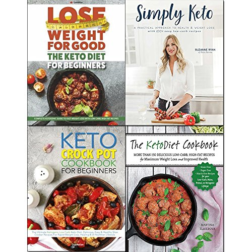 Simply keto, crock pot cookbook and keto diet for beginners 4 books collection set