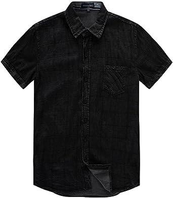 ursing Jeans camisas Verano Hombre Regular Fit Denim Camiseta Manga Corta Camisa Style de cowboy Camisa Camisas Verano Hombre Señor camisas Ocio Manga Corta Camisa con botón Super Modelos streetwear negro Negro