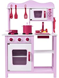 Costzon Kitchen Playset, Kids Wood Toy, Little Chef Pretend Cooking Play Set,  Pink