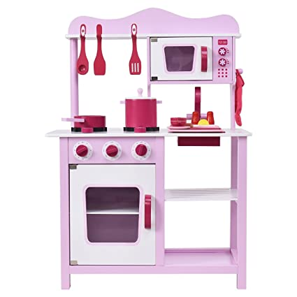 a5f543cf47e0 Amazon.com: Costzon Kitchen Playset, Kids Wood Toy, Little Chef Pretend Cooking  Play Set, Pink: Toys & Games