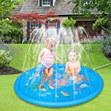AHCSMRE Sprinkle & Splash Play Mat 68in- Diameter | Fun Summer Spray Toys | Inflatable Splash Pad Outdoor Water Toys for Children Kids Toddlers Boys and Girls(Blue