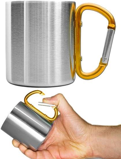 Outdoor Saxx® - Taza de camping, taza de exterior, taza de metal, con asa de mosquetón atornillada, acero inoxidable, senderismo, trekking, trabajo, ...