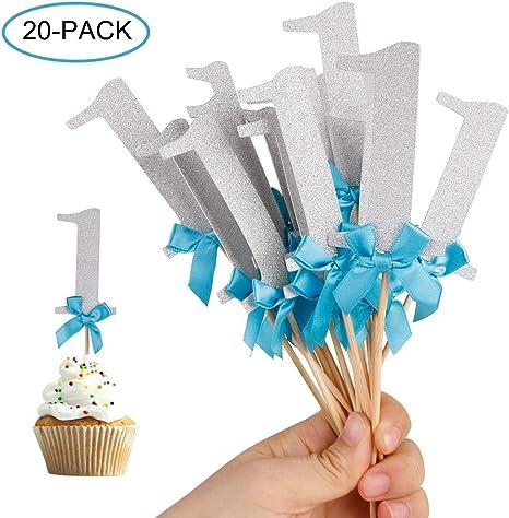20pcs//lot Baby Boy Cupcake Topper Theme Blue Party Supplies Boy Baby shower