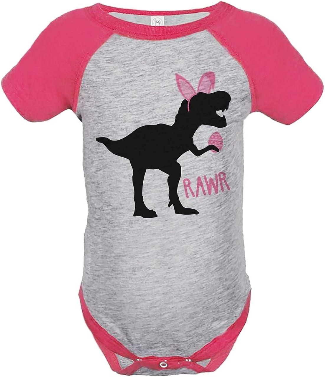 Custom Party Shop Baby Girls Dinosaur Happy Easter Grey Raglan