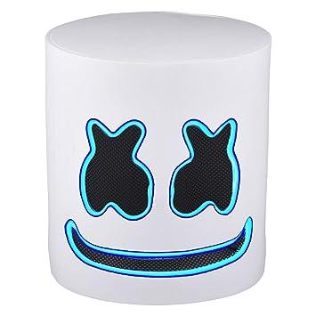 Electronic Music Party DJ MarshMello Helmet Cosplay EDM LED Light Full Head Mask