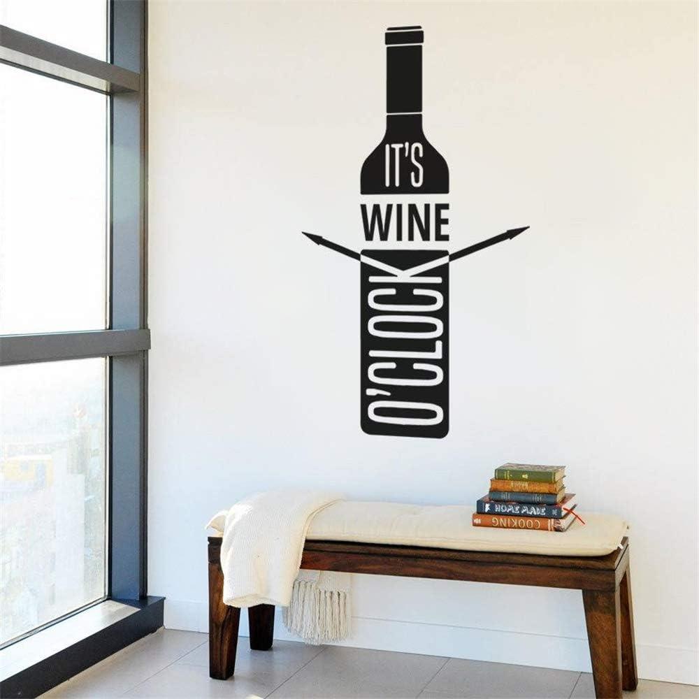Ajcwhml Etiqueta de la Pared Vinilo Reloj Botella de Vino Arte de la Pared Habitación de diseño Dormitorio Familiar Sala de Estar Cocina 31X57 CM: Amazon.es: Hogar