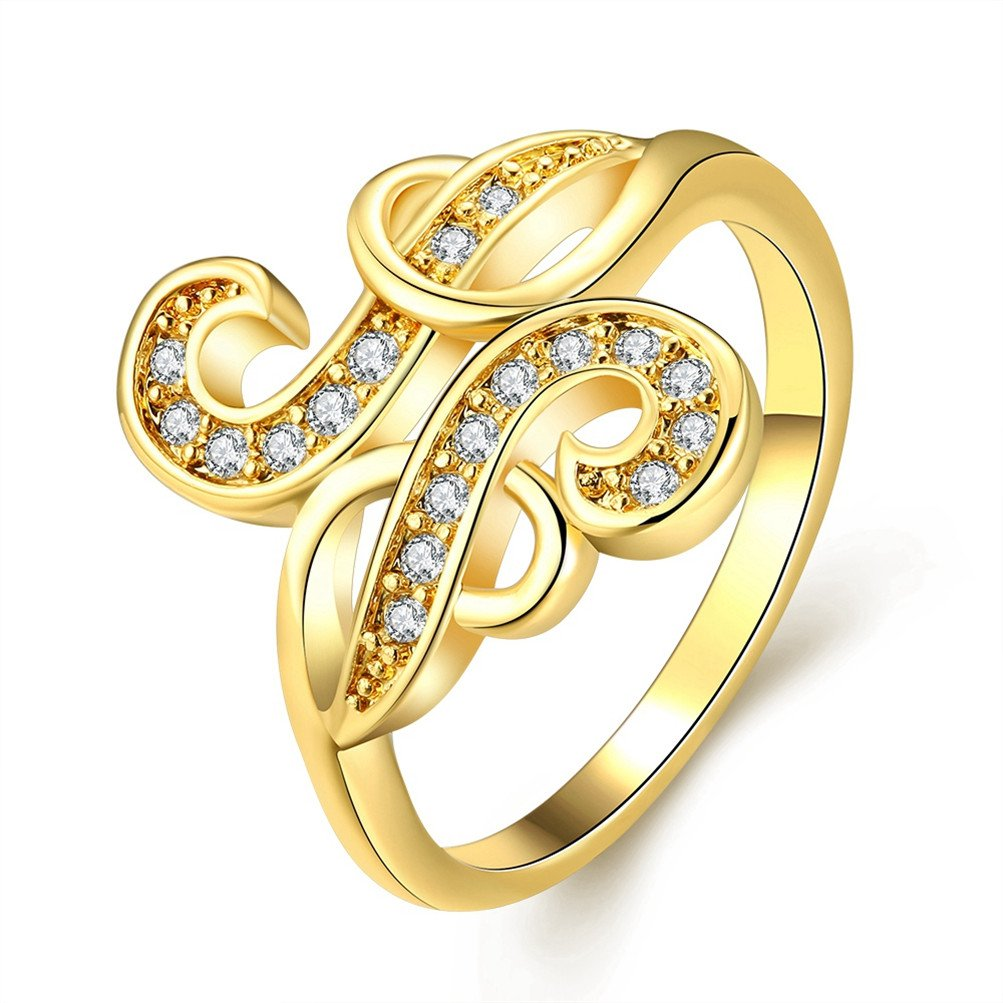 Vintage Simulated Rhinestone S Wedding Band Eternity Promise Ring 18K Gold Plated Anniversary Jewelry