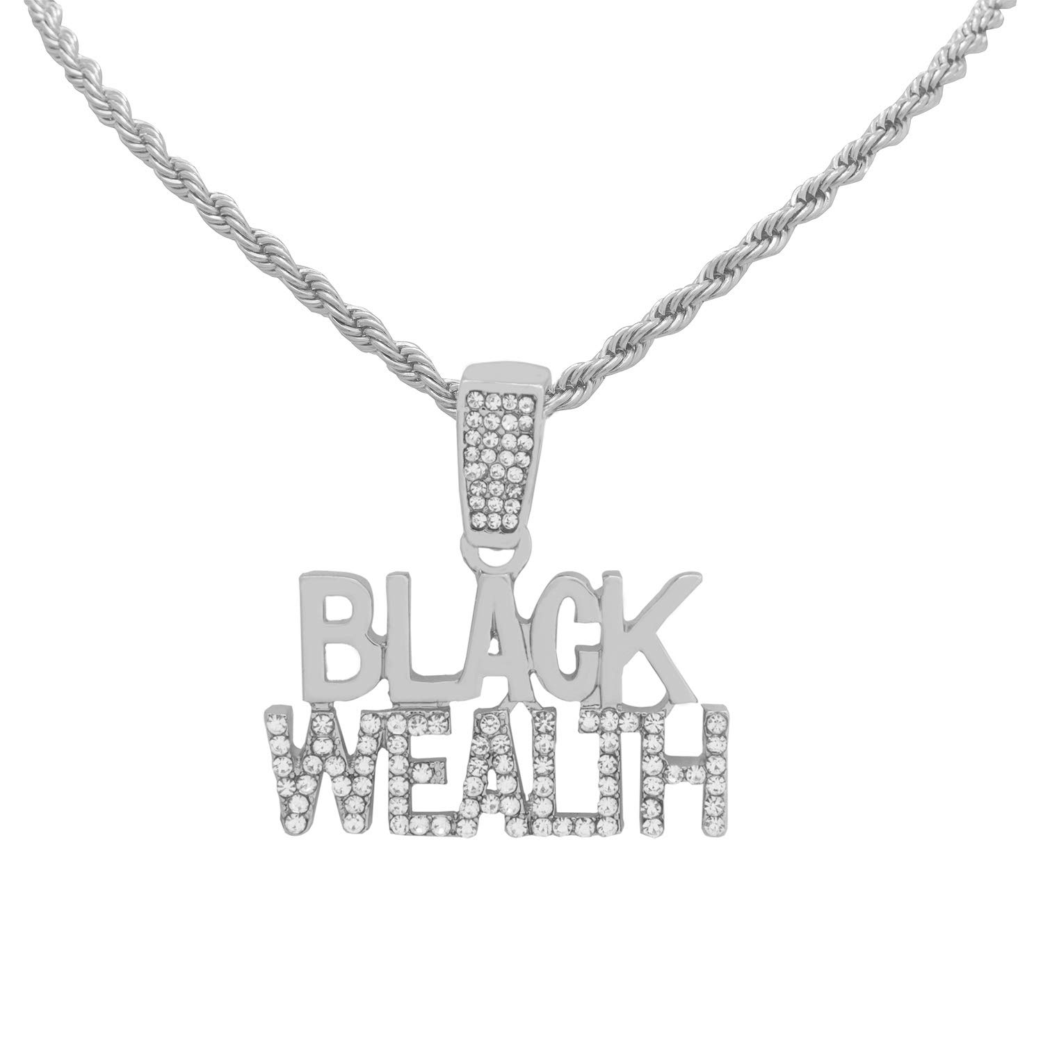 White Gold-Tone Hip Hop Bling Iced Out Black Wealth Pendant with 18 Tennis Chain and 24 Rope Chain