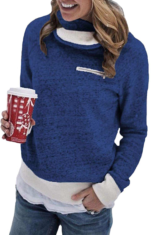 Assivia Womens Fleece Lined Sweatshirt Long Sleeve Pullover Sweaters Blouse Tops