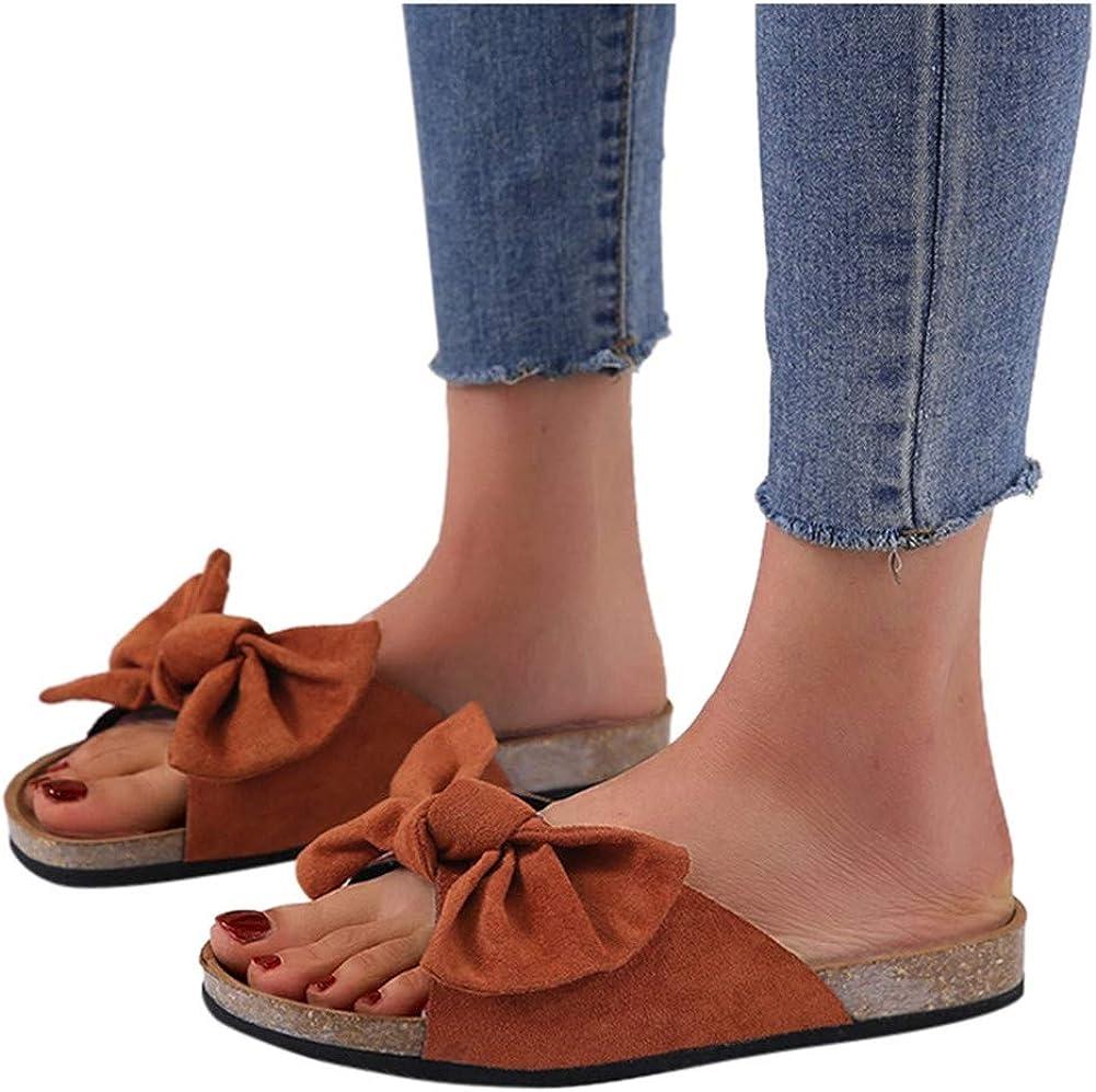 Canvas Knot Bow/Womens Slides/Sandals