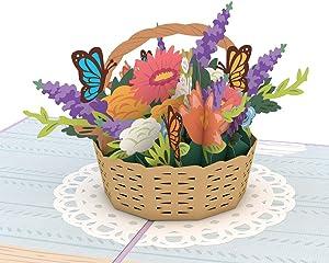 Lovepop Mother's Day Flowers Pop Up Card - 3D Card, Mother's Day Card, Greeting Card for Mom, 3D Flowers Card, Card for Mom, Card for Wife, Flower Basket