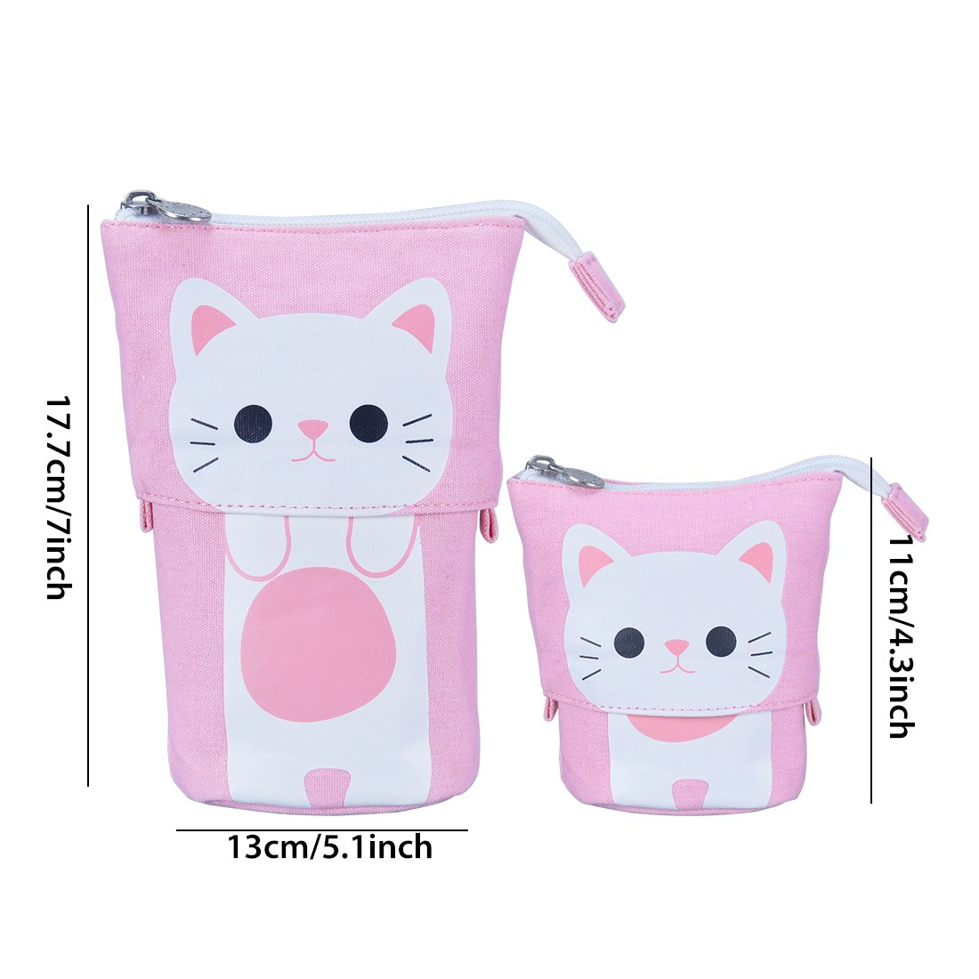 Oyachic Telescopic Pencil Stand Case Canvas Zipper Pen Pouch Small Cosmetics Bag Cute with Inner Pocket (Pink) by Oyachic (Image #2)