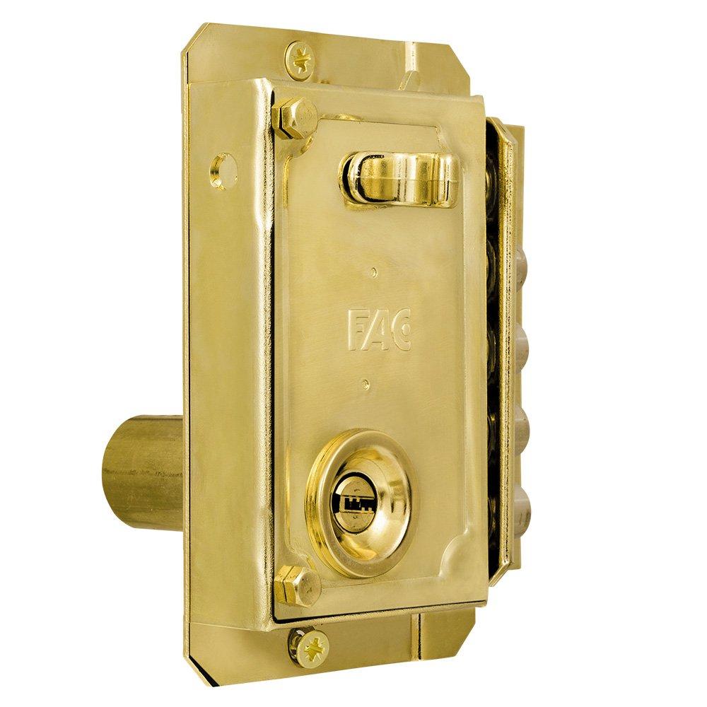 Fac seguridad s-90p - Cerradura sobreponer derecha dorado