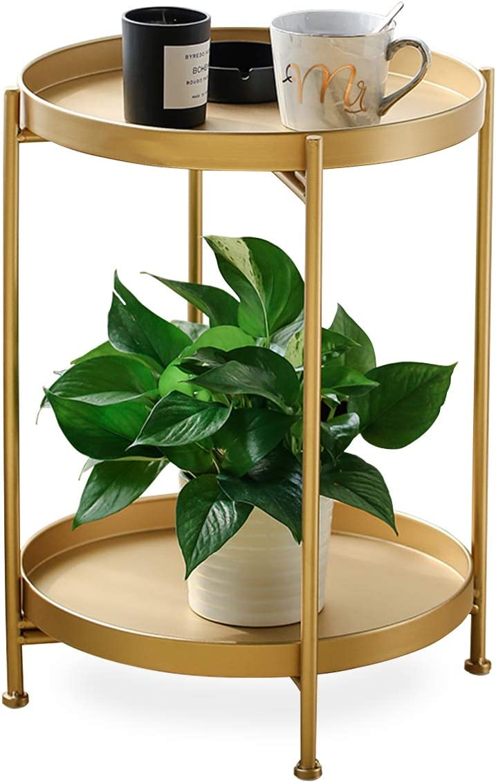FUNME Gold Folding End Table 2-Tier Metal Round Side Table with Removable Tray for Living Room, 15.2 Dx20 H