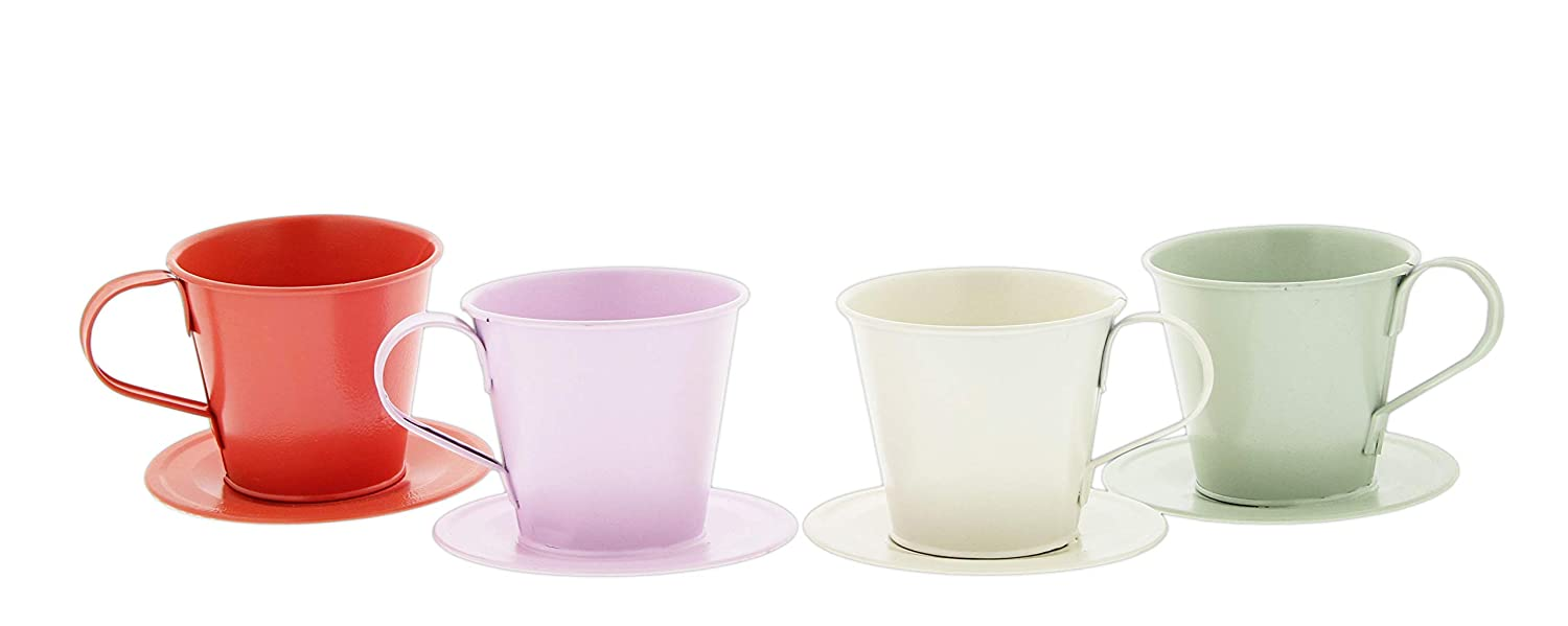Set of 4 Metal Tea Cup Planters in Light Pink, Hot Pink, White Green, 3