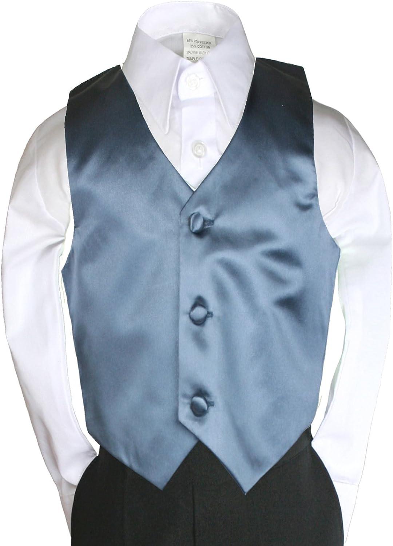 Dark Gray Satin Vest Only for Baby Kid Teen Boy Wedding Party Formal Suit sz Sm-28