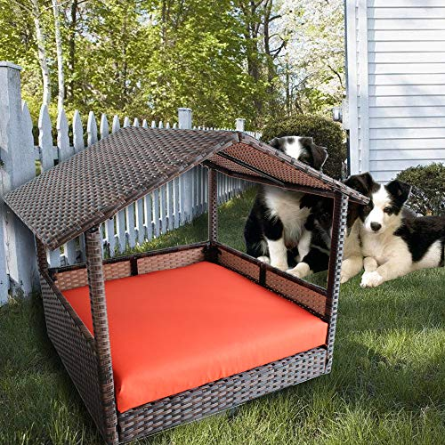 LEAPTIME Patio Pet House Brown PE Rattan Home Indoor Dogs Cats Rabits Playpen Garden Pet Bed Sofa Cushion-Orange