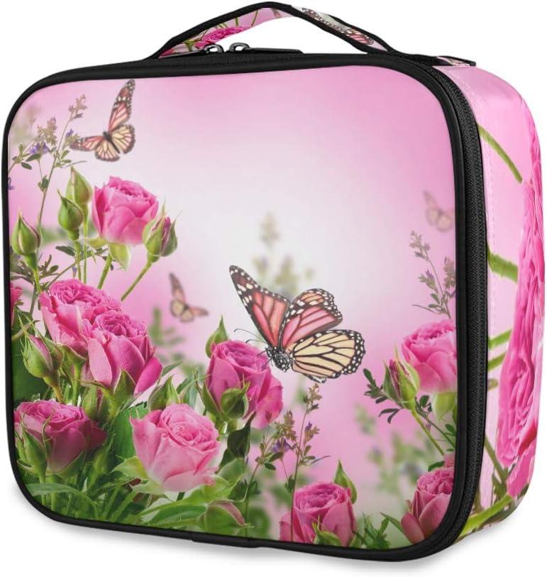 Sac de toilette avec poign/ée sup/érieure Organiseur multifonction pour filles Trousse de toilette LUPINZ Motif papillons et roses