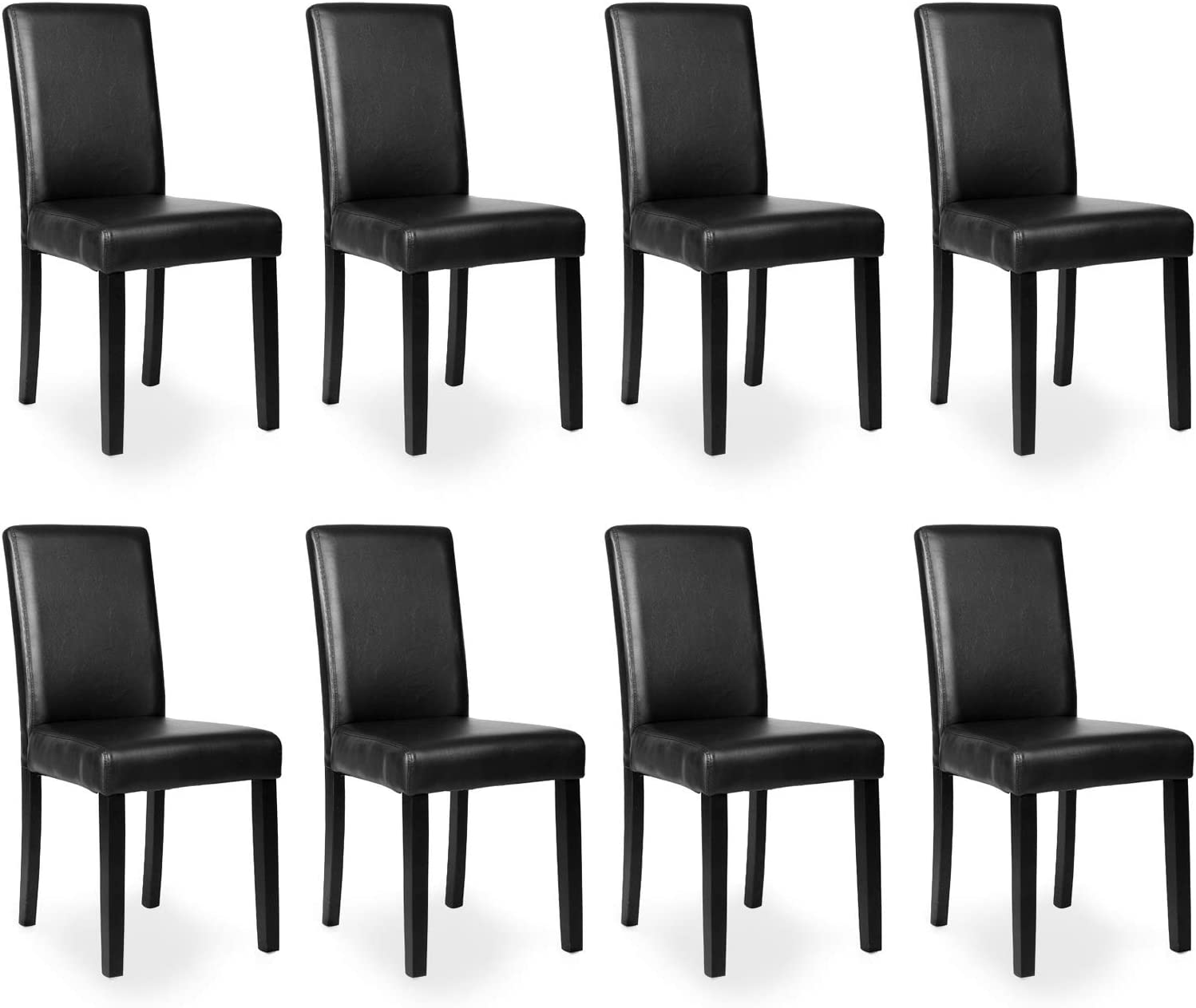 Amazon Com Mecor Dining Chairs Set Of 8 Kitchen Leather Padded Chair With Solid Wood Legs Dining Room Furniture Black8 Chairs